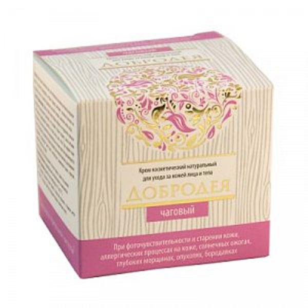 Крем косметический натуральный Добродея чаговый сашера мед