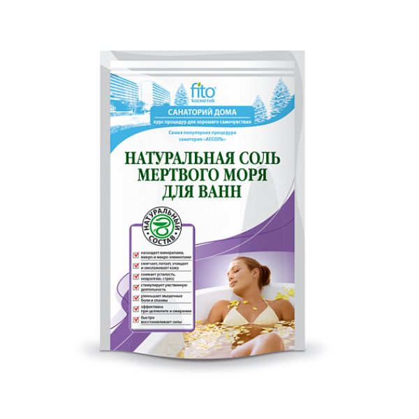 Натуральная соль Мертвого моря для ванн 500г фитокосметика