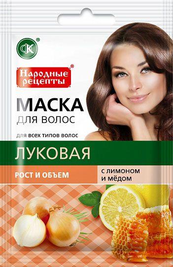 """Натуральная маска для волос """"Луковая с лимоном и медом"""" рост и объем"""