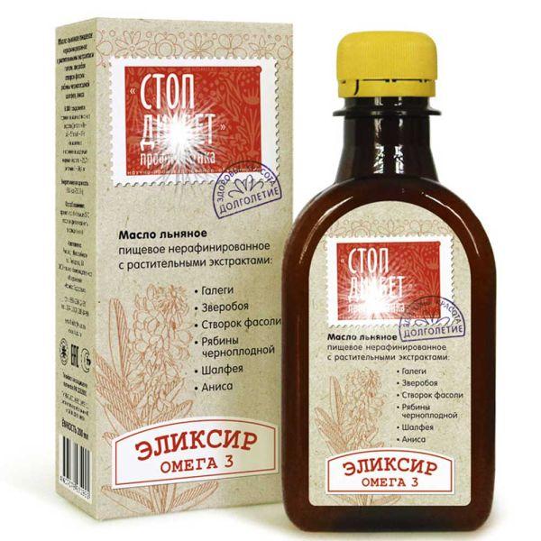 Масло льняное Стоп-Диабет с экстрактами трав компас здоровья