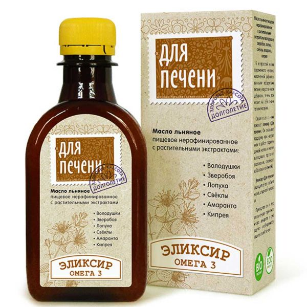 """Масло льняное """" Для печени"""" с экстрактами трав"""